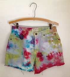 90s Tie Dye Cut Off Shorts // Sale by thatVideoVAMPvintage on Etsy, $22.00