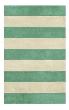 The American Home Rug Company Beach Boardwalk Stripes Teal Rug - nursery rug