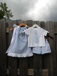 Brother Sister Blue Seersucker Set - Monogrammed Pillowcase Dress and Tie Shorts Set - sizes - for the BEACH Boy Girl Twin Outfits, Lila Outfits, Boy Girl Twins, Little Girl Dresses, Matching Outfits, Baby Boy, Baby Girl Fashion, Kids Fashion, Monogram Pillowcase