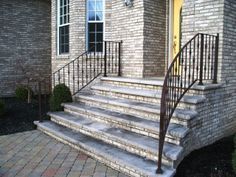 Front Porch Railings, Brick Porch, Front Stairs, Front Doors, Wrought Iron Porch Railings, Exterior Handrail, Outside Steps, Brick Steps, Porch Steps