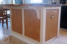 How to Customize a Kitchen Island with Trim: Today I want to walk you through part of this kitchen island makeover. I'm sure that someone with even the most basic woodworking skills can pull off! Kitchen Island Makeover, Redo Kitchen Cabinets, Diy Kitchen Island, Kitchen Redo, Kitchen Ideas, Kitchen Inspiration, Kitchen Designs, Kitchen Layouts, Kitchen Updates