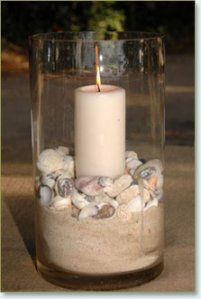 beach wedding centerpiece @McKeela this is what I was talking about for at the beginning of seating, and by the arch