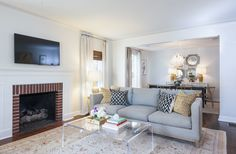 Alexis Pearl Design | Living Room, Plexicraft coffee table, Crate and Barrel Taravel sofa, modern, open floor plan