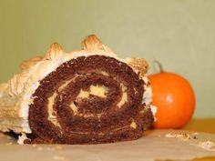 Bûche meringuée au chocolat et à la crème de clémentine