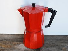 Vintage Pezzetti Espresso Maker, Red Enamelware, Stovetop 3 Cups, Made in Italy includes all parts