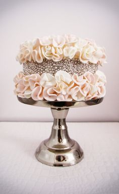 Ruffled Wedding Cake with middle layer of Silver Dragees