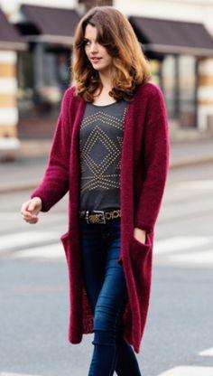 Enkel strikket jakke i vinrød | Yndlings-strikjakke