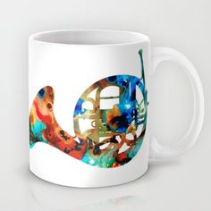 French Horn - Colorful Music By Sharon Cummings Mug by Sharon Cummings - $15.00