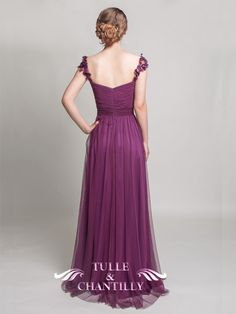Eggplant Sweetheart Tulle Bridesmaid Dress with Floral Straps 2