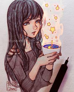 Starred Coffee~ by Qinni Beautiful Drawings, Cool Drawings, Pretty Art, Cute Art, Pretty Eyes, Manga Art, Anime Art, Arte Copic, Qinni