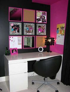 This setup on the wall looks so cool! Cork board, mirrors, pictures, simple and organized :)