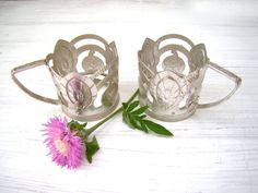 Set of Two Vintage Cup Holders Glass Holders by CoolVintageForHome