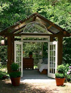 Backyard Gazebo Ideas She Sheds 17 Ideas Outdoor Bedroom, Outdoor Rooms, Outdoor Living, Garden Bedroom, Open Shed, Shed Decor, Verge, Backyard Studio, Backyard Gazebo