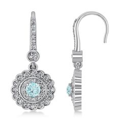Diamond & Aquamarine Double Halo Drop Earrings 14K White Gold (1.60ct) -Allurez.com 14k White Gold Earrings, Gemstone Earrings, Drop Earrings, Diamond Stone, Halo Diamond, Stunning Women, Round Diamonds, Gemstones, Jewels