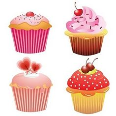 Free 4 Clip Arts Cupcakes, They are in PNG and inch size. Cupcake Clipart, Food Clipart, Sweets Clipart, Candy Clipart, Cupcake Kunst, Cupcake Art, Cupcake Images, Pink Cupcakes, Tampons