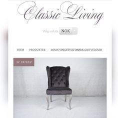 Louis Vingestol i Mørk grå velour  med sølvnagler og tykk sølvring i ryggen. Meget godt sittecomfort. En lekker spisestuestol med flotte detaljer.  Farge: Mørk grå velour. Sølvring på rygg.  Mål: Rygghøyde: 103cm  Bredde: 565cm Dybde 50cm Sittehøyde: 49 cm