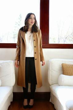 camel coat, lace blouse