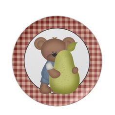 Pear Bear cartoon fun plate