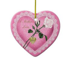 A Mother's Love Heart and Lace Ornament
