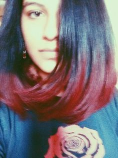 Long bob with red ombre.