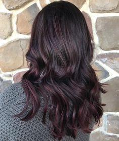 Purple Tinted Hair, Dark Purple Hair, Bright Red Hair, Hair Color Dark, Black Hair With Color, Colorful Hair, Purple Balayage, Black Hair With Highlights, Balayage Hair