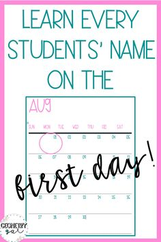 Ues this name game to learn every students' name on the first day of school! I use this every year, and it works! It's so easy to High School First Day, Beginning Of The School Year, Sunday School, Middle School, Classroom Management Techniques, Effective Classroom Management, New Students, High School Students, Get To Know Me