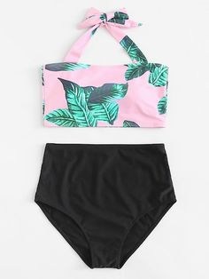 Jungle Print Halter Top With High Waisted Bikini Bathing Suits For Teens, Summer Bathing Suits, Swimsuits For Teens, Cute Bathing Suits, Cute Swimsuits, Cute Bikinis, Women's Bikinis, Bikini Halter, Bikini Set