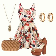 Apricot Sleeveless Round Neck Florals Print Dress...minus the heels!