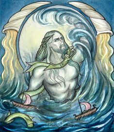 """Ægir (Old Norse """"sea"""") is a sea giant, god of the ocean and king of the sea creatures in Norse mythology. He is also known for hosting elaborate parties for the gods."""