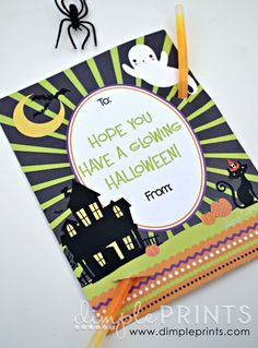 glow stick print card. Perfect for friends, neighbors, classmates or trick-or-treaters! FREE PRINTABLE