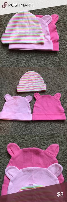 Baby hats NWOT!Girls 3pc bundle of hats. Never worn. See pic - it shows the 2 tiny holes where the tags used to be. Gerber Accessories Hats