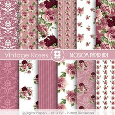 Rose Digital Paper Plum Digital Paper Pack by blossompaperart