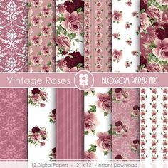 Rose Digital Paper Plum Digital Paper Pack by blossompaperart