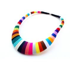 Multicolor Statement Necklace, Unique Necklaces, handwrapped necklace,... ($55) ❤ liked on Polyvore featuring jewelry, necklaces, colorful statement necklace, multi colored jewelry, tri color necklace, tri color jewelry and african jewelry