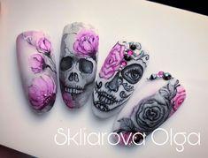 Skull Nail Art, Skull Nails, Skull Nail Designs, Goth Nails, Acrylic Nail Designs, Holloween Nails, Halloween Acrylic Nails, Halloween Nail Designs, Cute Acrylic Nails