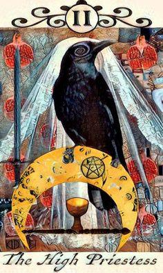 The High Priestess, the Crow Tarot