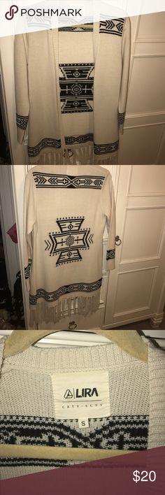 Cardigan Beige cardigan with tribal design Sweaters Cardigans