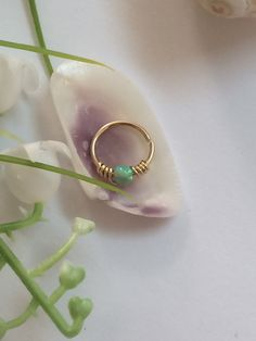 Tiny Hoop Nose Ring  Opal Nose Ring  Septum by FlowerRainbowNJ