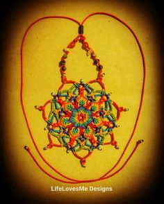 Micro macrame chakra mandala necklace with coral, carnelian, citrine, howlite, lapis lazuli & amethyst. Approx 5hrs to create. Made in Coolum Beach, Australia.