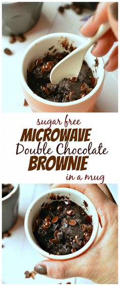 2 T almond meal/flour 2 T milk 1 T cocoa powder 1 t sugar 1 T nut butter 1 t chocolate chips Combine first 4 ingredients in a small mug. Then stir in nut butter. Top with chocolate chips and microwave for 30-40 seconds. (Depends on size of cup & your preferred brownie texture)