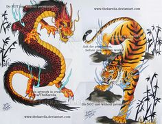 Dragon vs Tiger by TheKarelia.deviantart.com on @DeviantArt