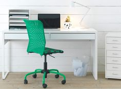 Give your workspace a mini-makeover with a clean white MICKE desk with KVISSLE desk organizers!