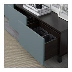 IKEA - BESTÅ, Storage combination with drawers, black-brown/Valviken…