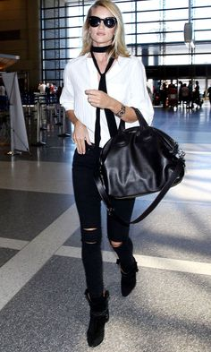 Rosie Huntington-Whiteley Airport Style Skinny Scarf