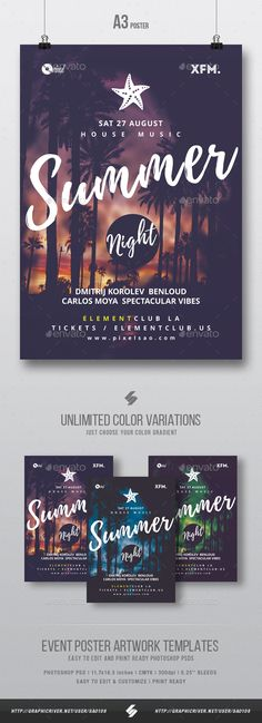 Summer Night  Beach Party Flyer / Poster Template A3 — Photoshop PSD #club #deephouse • Download ➝ https://graphicriver.net/item/summer-night-beach-party-flyer-poster-template-a3/19506429?ref=pxcr