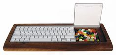 keyboard holder that can store candy... perfect and dangerous at the same time.
