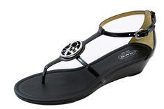 COACH Vipor Black Patent Leather T-Strap Wedged Sandal New Women's Shoe's