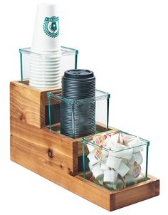 Item: 3612-4-99   Madera 3 Step Jar Display Make displaying condiments and packets a breeze with the Madera 3 Step Jar Display. The jars fit perfectly into each tier, and are easily removed to be refilled. Instead of using 3 different pieces that could get lost or dropped, use just one!