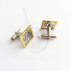 Arabic Calligraphy Name Cuff links Two Tone Plating Gold &