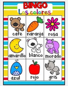 Juego bingo de los colores para aprender los colores Spanish Activities, Color Activities, Toddler Activities, Games For Kids, Diy For Kids, Kid Games, Kids Learning, Kindergarten, Homeschool